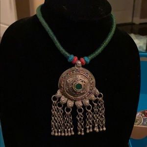 Jewelry - Green thread necklace with bells and stones